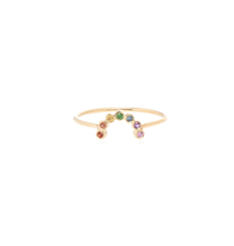Zoe Chicco 14k Gold Small Arc Rainbow Sapphire Ring