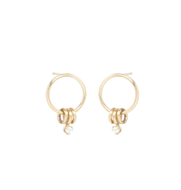 Zoe Chicco 14K 3 Ring Small Circle Earrings with Prong Diamond