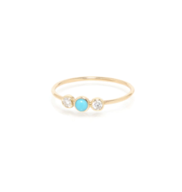 Zoe Chicco Turquoise and Diamond Bezel Ring