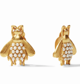 Julie Vos Bee Clip-On Gold Pearl