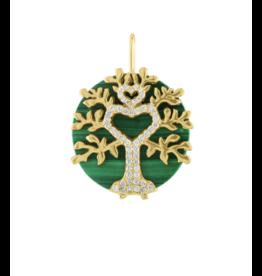 Eden Presley 14KY Malachite Tree of Life & Diamond Pendant