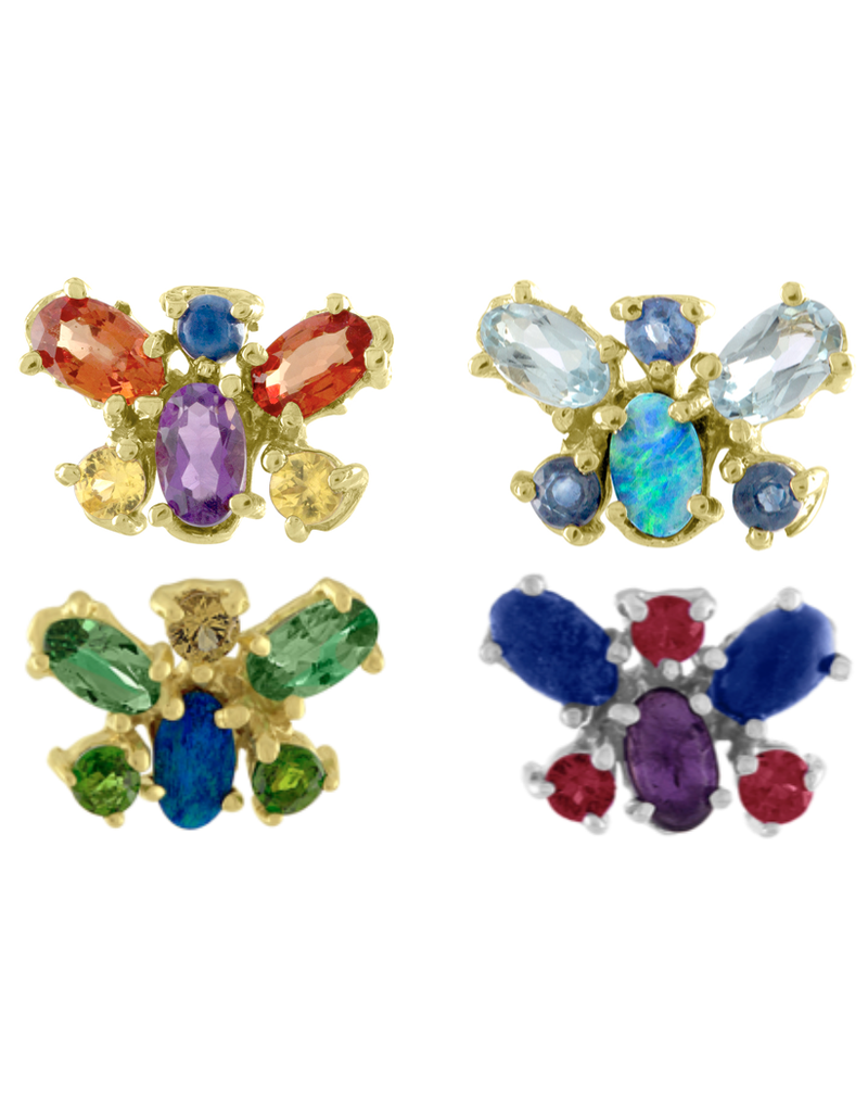 14KY Aqua Butterfly Studs 1.94 cts