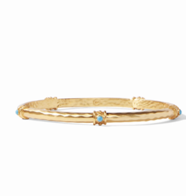 Julie Vos Savannah Bangle Gold Pacific Blue Large