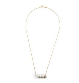Mizuki Three Akoya Pearl Bar Necklace