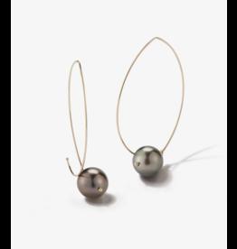 Mizuki 14ky blk tahi pearl marquise hoop