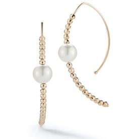 Mizuki Small Marquis Hoop Akoya Pearl and Cut Beads