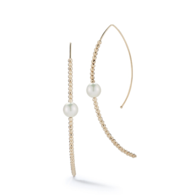 Mizuki Large Marquis Hoop Akoya Pearl and Cut Beads