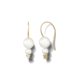 Small Double Freshwater Pearl and Diamond Drop Earrings