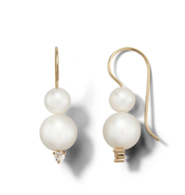 Mizuki Large Double Freshwater Pearl and Diamond Drop Earring