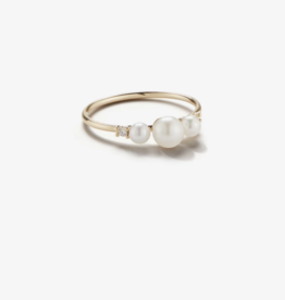 Mizuki Three Pearl and Diamond Ring