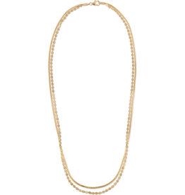 Lana Petite Nude Liquid Gold Layered Herringbone Necklace