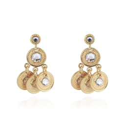 Gas Bijoux Arlequin Swarowski Strass Earrings Gold