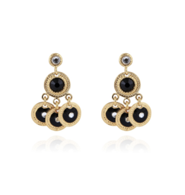 Gas Bijoux Arlequin Gold with Black Accent Earrings