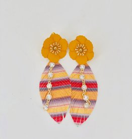 Lucy Jane Multicolor Feather with Bling Charm and Orange Flower Stud Earrings