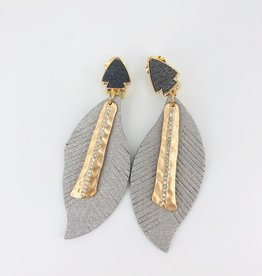 Lucy Jane Silver Metalic Feathers with Gold Charm and Dark Silver Arrow Stud