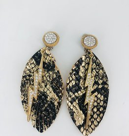Black and Gold Speckled Feather with Diamond Lightning Charm