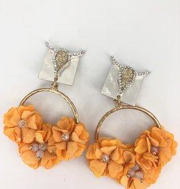 Orange Flower Cluster Earrings