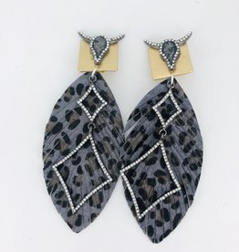 Grey Cheetah Print Feathers With Double Charm