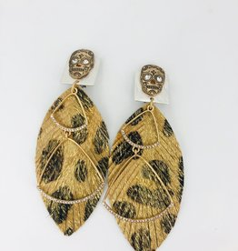 Gold Leapoard Feather Earrings with Double Charm and Skull Stud