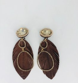 Brown Leather Feather Earrings with Double Circle Charm