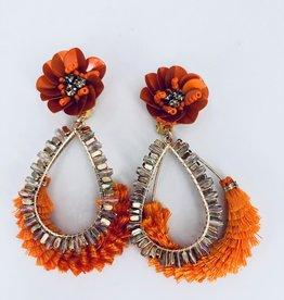 Lucy Jane Orange Teardrop Fringe Earrings