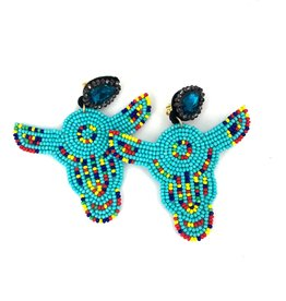 Turquoise Beaded Longhorn Earrings