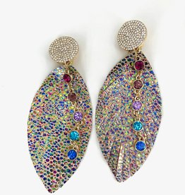 Rainbow Speckled Feather Earrings