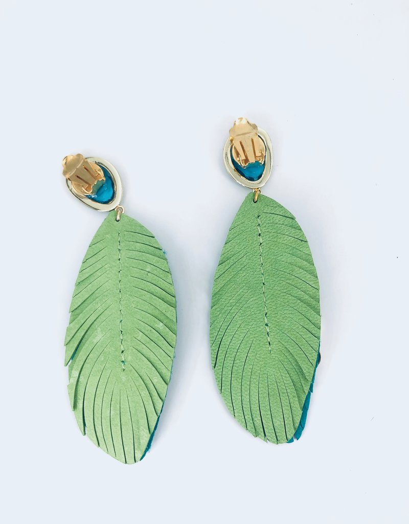 Teal and Green Feather Earrings