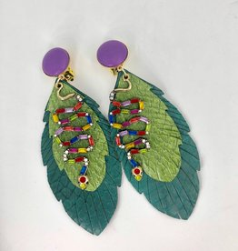 Lucy Jane Shades of Green Snake Skin Feather Earrings