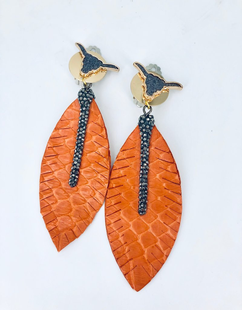 Orange Snakeskin Earrings with Black Bar Detail