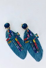 Blue Feather Earrings with Rainbow Cross Charm