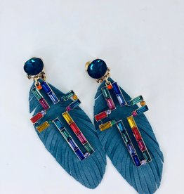 Lucy Jane Blue Feather Earrings with Rainbow Cross Charm