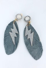 Grey and White Feather Earrings with Lighning Charm