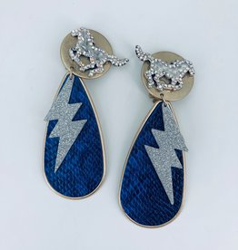 Blue Snake Earrings with Pony Stud and Lightning Charm