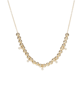 14k Gold Chain Necklace with Gold Beads and Diamonds