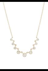 14k gold 9 Linked Graduated Bezel Diamond Necklace