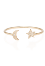 Zoe Chicco 14k gold open itty bitty ring with a moon and star both covered with white pave diamonds