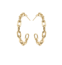 Zoe Chicco 14k Gold Large Square Oval Link Hard Chain Hoops