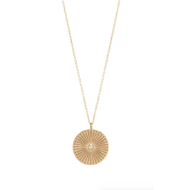 Zoe Chicco 14k Gold Medium Sunbeam Medallion Necklace With Single Bezel Set White Diamond