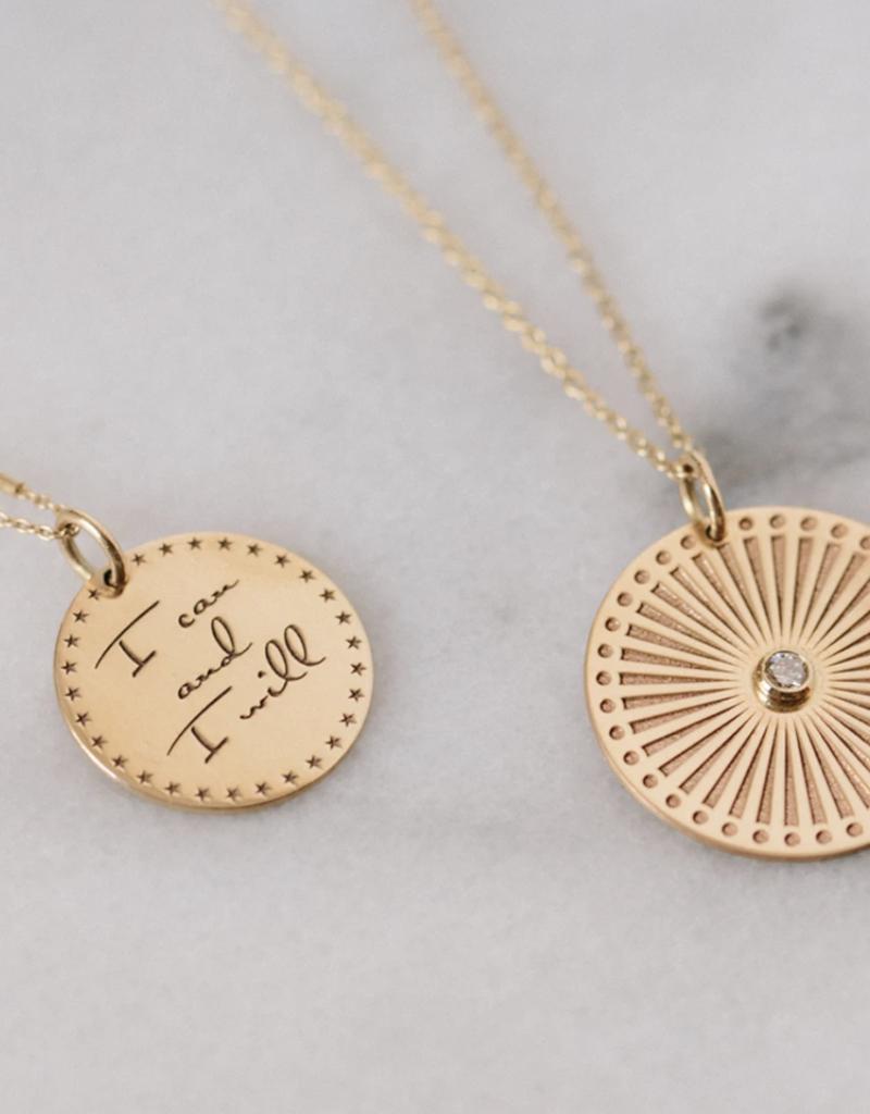 Zoe Chicco 14k Gold Medium Sunbeam Medallion Necklace With Single Bezel Set White Diamond