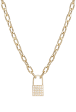 Zoe Chicco 14k Gold Padlock Necklace Covered in White Pave Diamonds