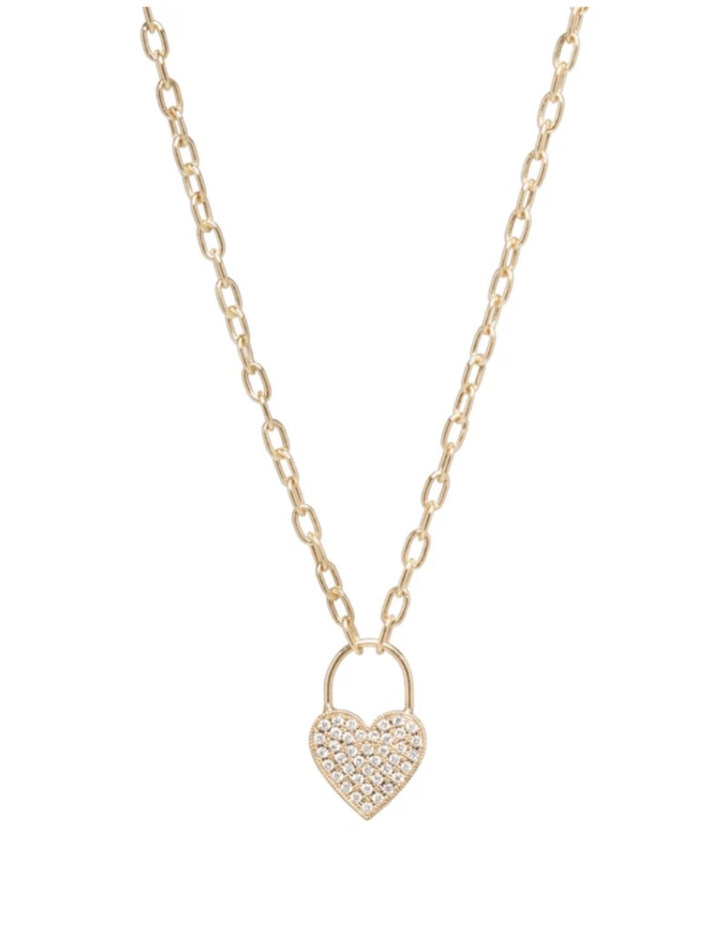 Zoe Chicco 14k Gold Small Heart Padlock Necklace with Pave White Diamonds on a Small Squre Oval Link Chain