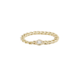 Zoe Chicco 14k Gold Small Hollow Curb Chain Ring With a Single Floating White Diamond