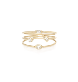 Zoe Chicco 14k Thin 3 Band Mixed Diamond Ring