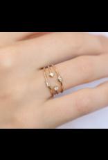 14k Thin 3 Band Mixed Diamond Ring