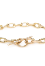 Zoe Chicco 14k Gold Extra Large Square Oval Link Chain Bracelet with Toggle Clasp Closure with Pave Diamonds