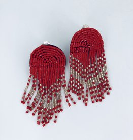 Red and Silver Beaded Fringe Earrings