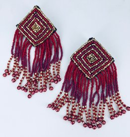 Red Gold and Magenta Beaded Fringe Earrings