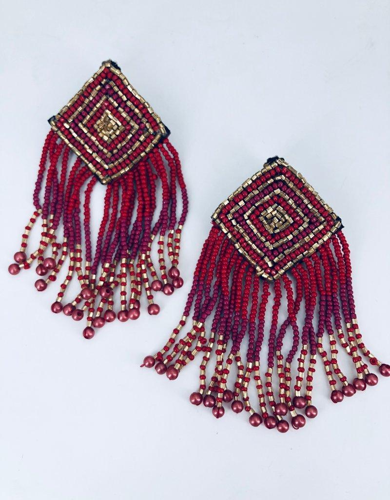 Red Gold and Magenta Beaded Fringe Earrings