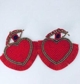 Lucy Jane Beaded Red Eye Heart Earrings